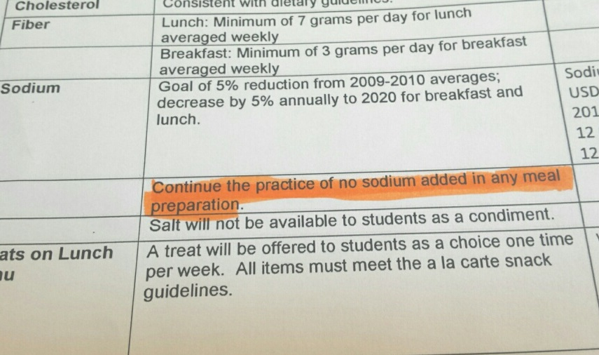 Buried in Chicago Public School's 900 page contract with Aramark is this provision that forbids the use of salt in any meal preparation. Some believe this puts the salt-free vegetables at a disadvantage against the salty highly processed foods that dominate the menu. It also allows the processed food to be served without exceeding federal salt limits for the whole meal.  (WBEZ/MONICA ENG)