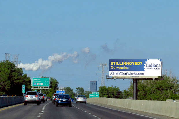 An example of a Stillinoyed campaign billboard designed to highlight Indiana's business opportunities.  (Source: Economic Development Corporation, Indiana)