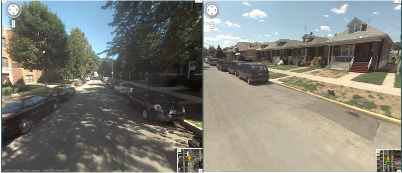 A Google Streetview comparison of two neighborhoods with different amounts of canopy cover. (Google)