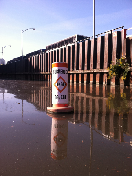 This warning doesn't hint at what's below the surface. (WBEZ/Jennifer Brandel)
