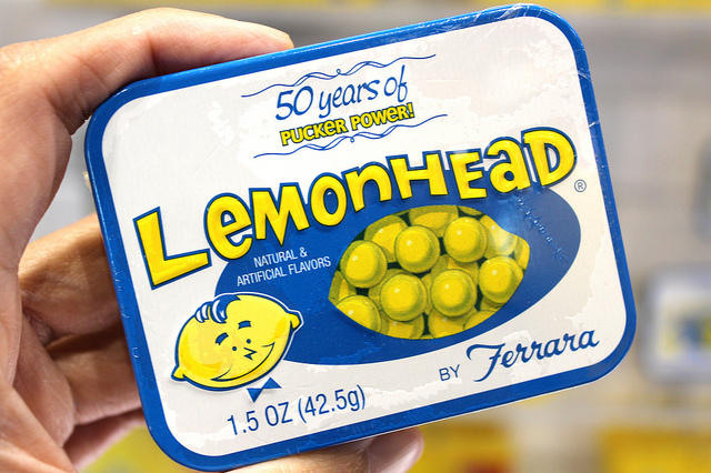Limited edition nostalgic Lemonhead® tin at Sweets & Snacks Expo 2013 in Chicago (WBEZ/Louisa Chu)