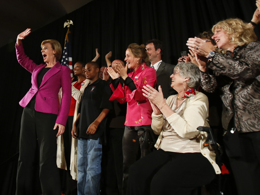 Tammy Baldwin wins in Wisconsin to become the first out lesbian U.S. senator in history. (AP)
