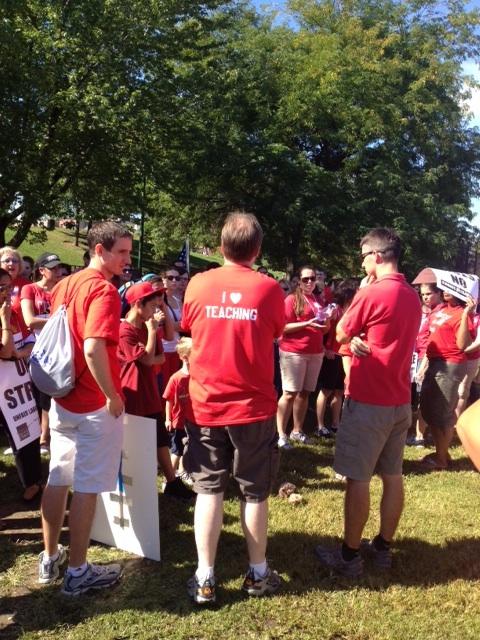 I love teaching: Lincoln Park teachers gather after the morning picket line. (WBEZ/Jim DeRogatis)