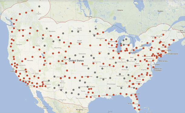 Tesla's plan to blanket the country with supercharging stations by 2015. So far only nine have been installed. (Tesla Motors)