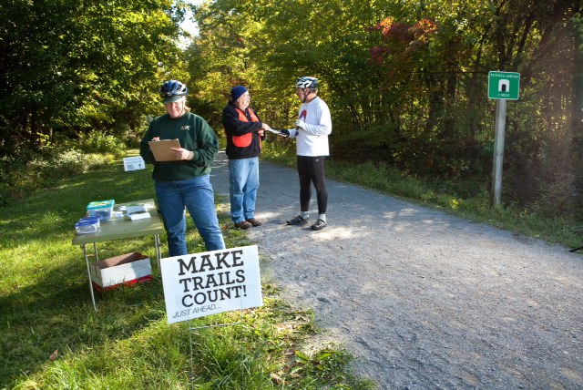 Volunteers conduct surveys at Tunnel Hill State Trail. (Courtesy Thomas' Photographic Services)