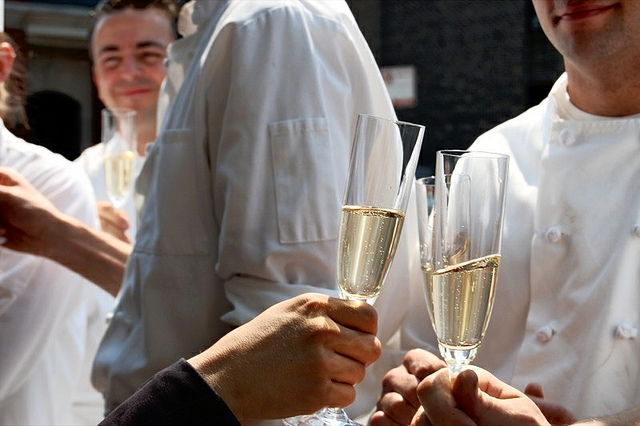 Champagne toast at Charlie Trotter's, which closed in 2012 (WBEZ/Louisa Chu)