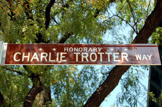 Honorary Charlie Trotter Way street sign (WBEZ/Louisa Chu)