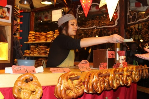 Hot pretzels for sale at Christkindlmarket Chicago. (Tricia Bobeda/WBEZ}