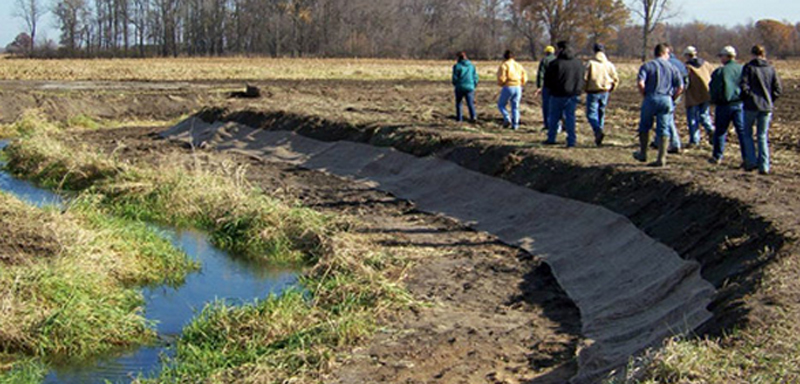 A two-stage ditch built as part of the Nature Conservancy's Wabash River initiative. (Courtesy of the Nature Conservancy)