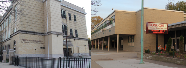 University of Chicago's Woodlawn Charter School, left, and Donoghue Charter School, right, are on the southern and northern ends of UCPD's extended jurisdiction. (Ellen Mayer/WBEZ)