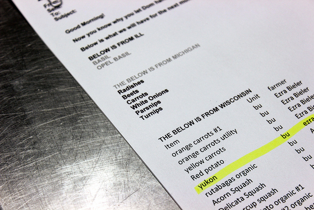 Local farm produce order, Levy Restaurants at United Center in Chicago (WBEZ/Louisa Chu)
