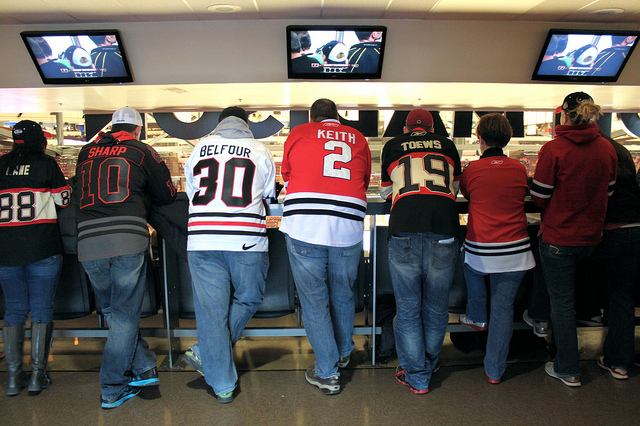 Chicago Blackhawks standing room only section at United Center, Chicago (WBEZ/Louisa Chu)