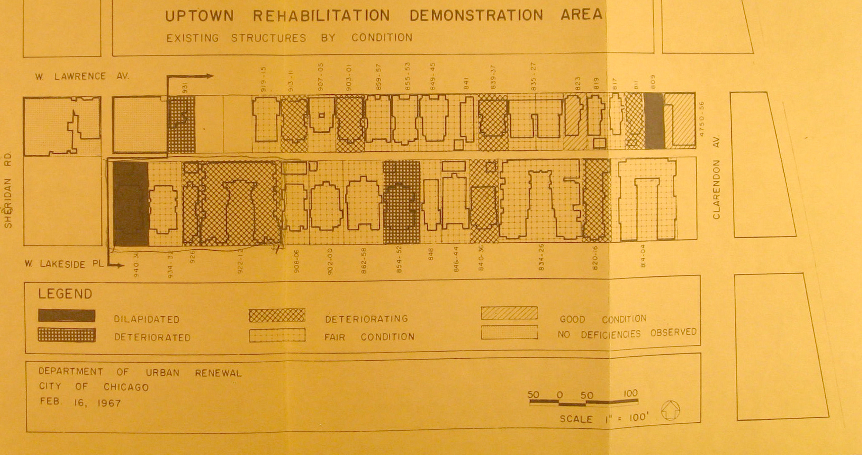 An evaluation of the condition of a block of housing in Uptown by the city's Department of Urban Renewal, 1967. (Flickr/Devin Hunter)