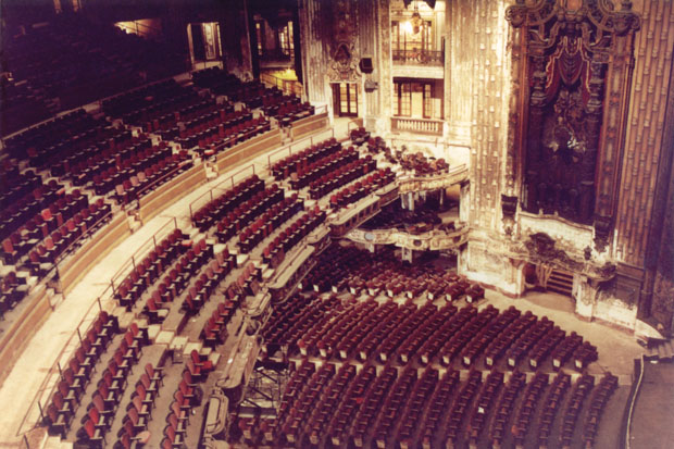 A photo from June 1990 shows the interior of the Uptown Theater. Click to enlarge. (Photo courtesy Bruce Sharp)