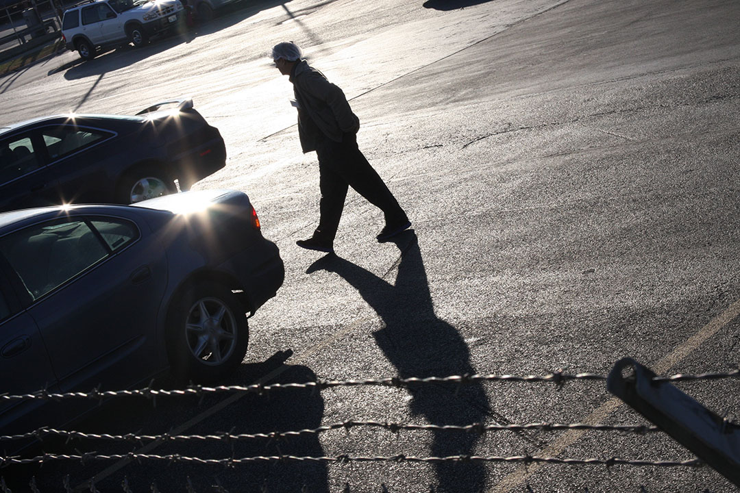 A worker heads home after his shift at the Raani Corp. factory in Bedford Park. (Logan Jaffe/WBEZ)