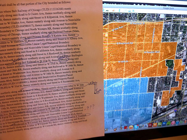 My desktop from figuring out the Rules Committee's version of the Chicago ward remap in January.  (WBEZ/Elliott Ramos)