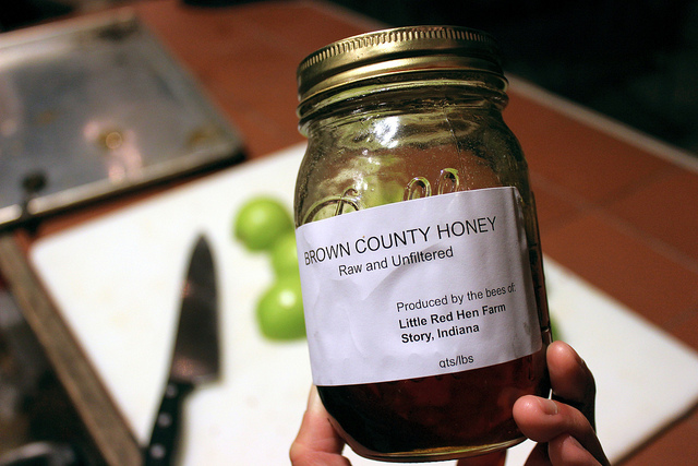 Brown County Honey, raw and unfiltered, produced by wild bee honey at Little Red Hen Farm in Story, Indiana (WBEZ/Louisa Chu)