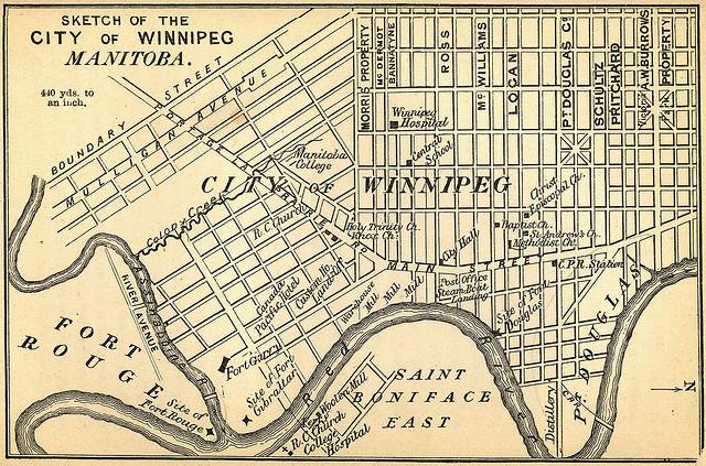 Sketch of the City of Winnipeg Manitoba 1882 (Manitoba Historical Maps/flickr)