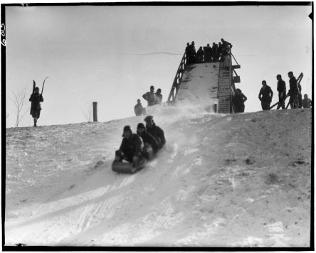 One good thing about lots of snow? Tobagganing. (Photo courtesy  Forest Preserve District of Cook County Records, University of Illinois at Chicago Library)