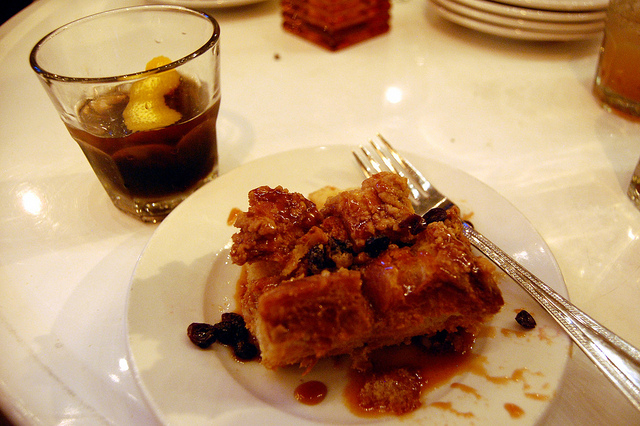 Smoked Cherry Coke Manhattan and Templeton Rye infused bread pudding (WBEZ/Louisa Chu)
