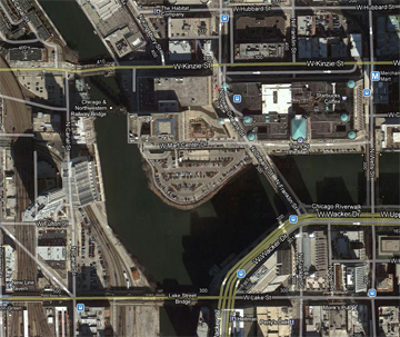 A satellite view of Wolf Point these days. It was the site of Chicago's first hotel, tavern and church. (Source: Google Maps)