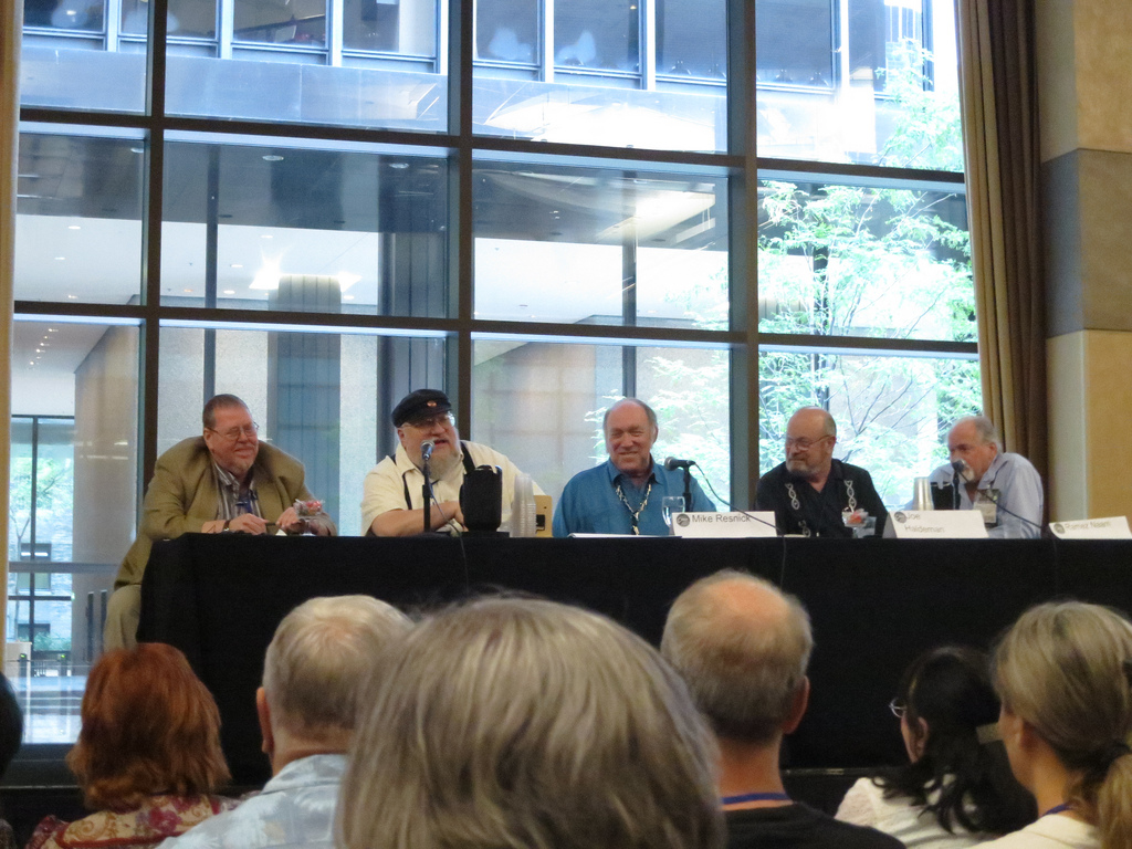 Gardner Dozois, George R.R. Martin, Mike Resnick, Joe Haldeman, and Robert Silverberg at Chicon 7. (Flickr/Jonathan Crowe)