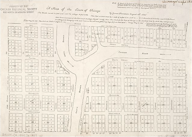Thompson's plat map of Chicago in 1830, showing alleys. (Source: Alfred Theodore Andreas, 1884. History of Chicago.)