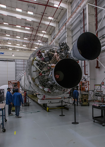The new RD-181 engines are installed on the Antares vehicle ready to support a full power hot fire test at the pad in first quarter 2016. Photo credit Patrick Black/NASA