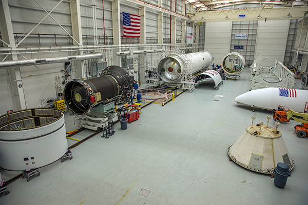 All major components of Antares are in place and undergoing launch vehicle integration at Orbital ATK's Horizontal Integration Facility at NASA's Wallops Flight Facility. Photo credit Patrick Black/NASA