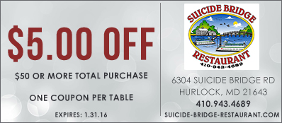 Suicide Bridge Restaurant Coupon: $5 Off $50 Purchase
