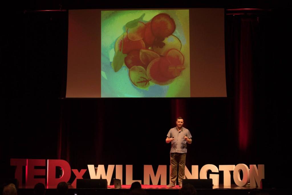 Hari Cameron giving his TED Talk at TEDxWilmington.(Photo: Hari Cameron).