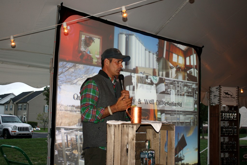 Sam Calagione announcing his new line of distilled spirits.