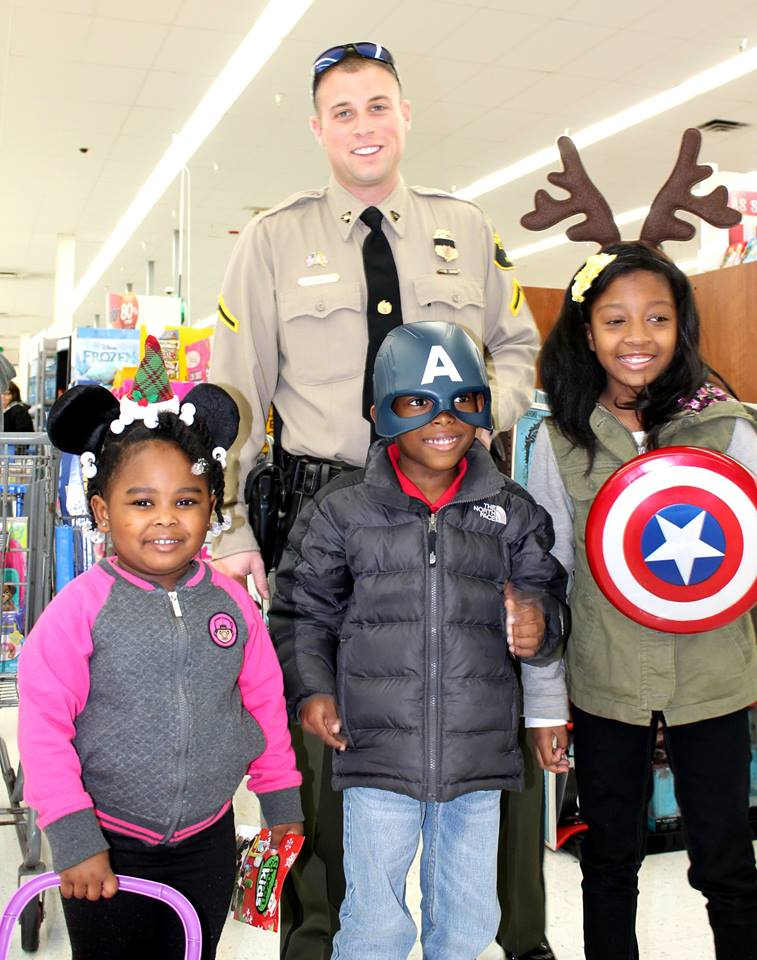 Officer Wilson and his shopping buddies (Courtesy: Maryland Natural Resources Police)