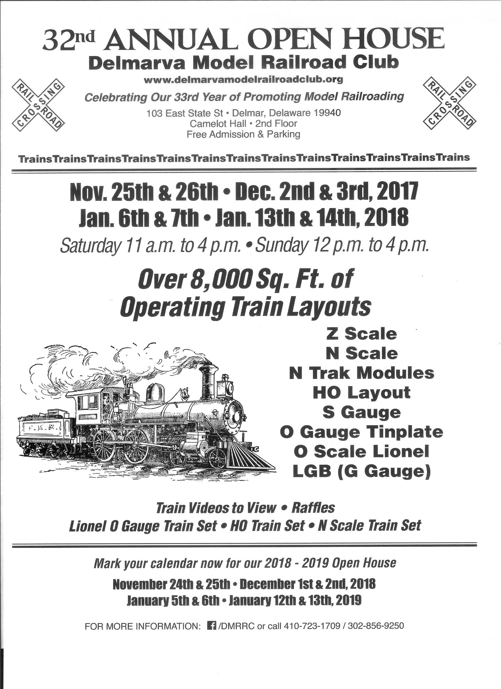 Delmarva Model Railroad Club 32th Annual Holiday Open