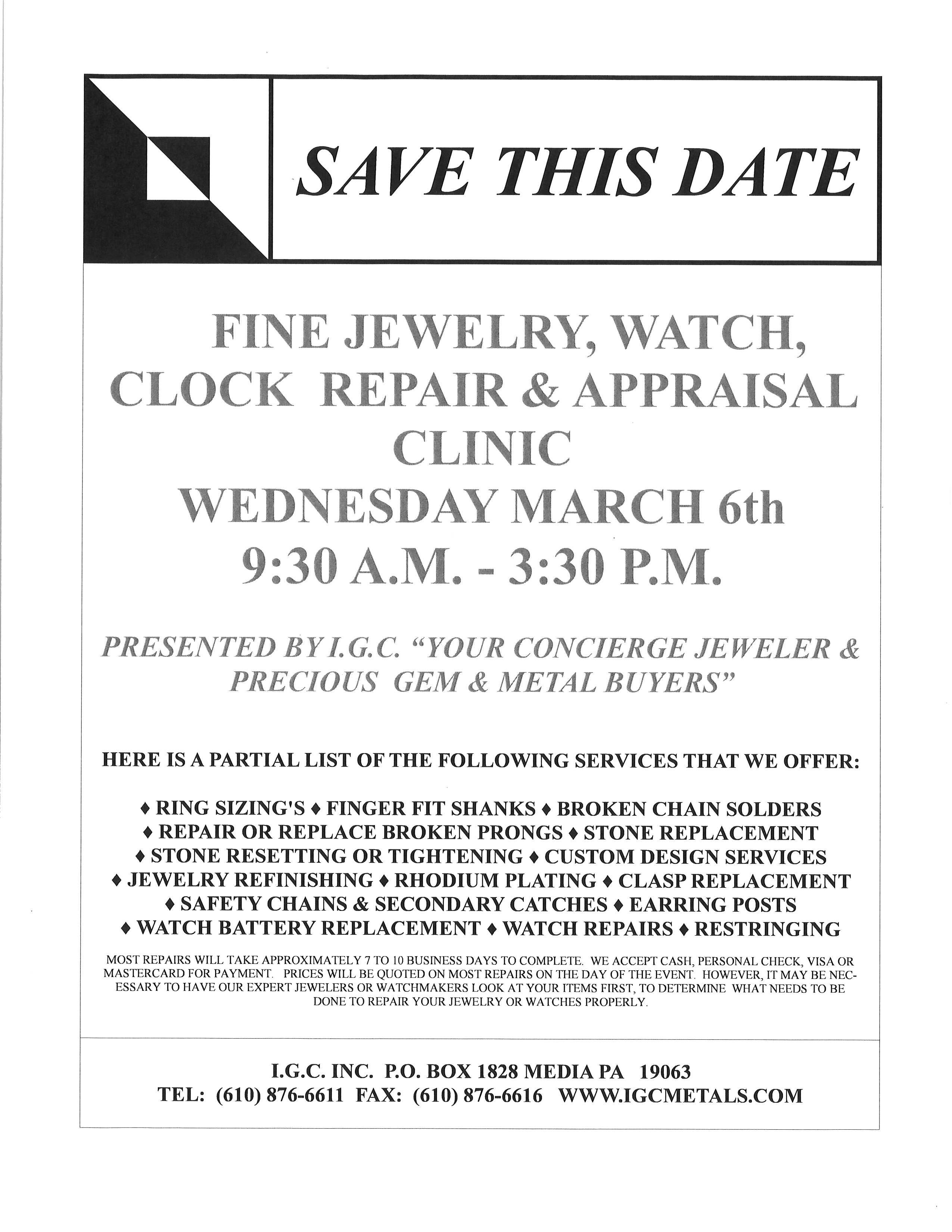 IGC Jewelry Repair and Appraisal Clinic - DelmarvaLife