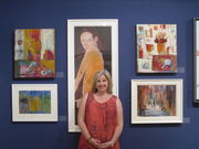 Me with two of my paintings at Mall Galleries London