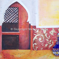 Moroccan lounge with vase
