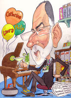Caricature leaving gift