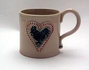 Cockerel mug turquoise green