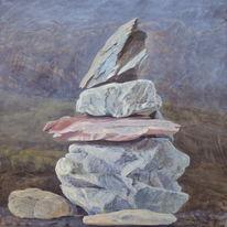 Stone cairn still-life