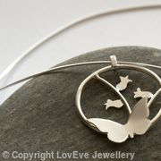 Butterfly and Bluebell Round Pendant