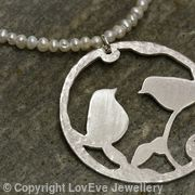 Love Bird Pendant on Pearl Necklace