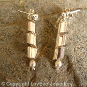 Swirl and Pearl Dangling Earrings