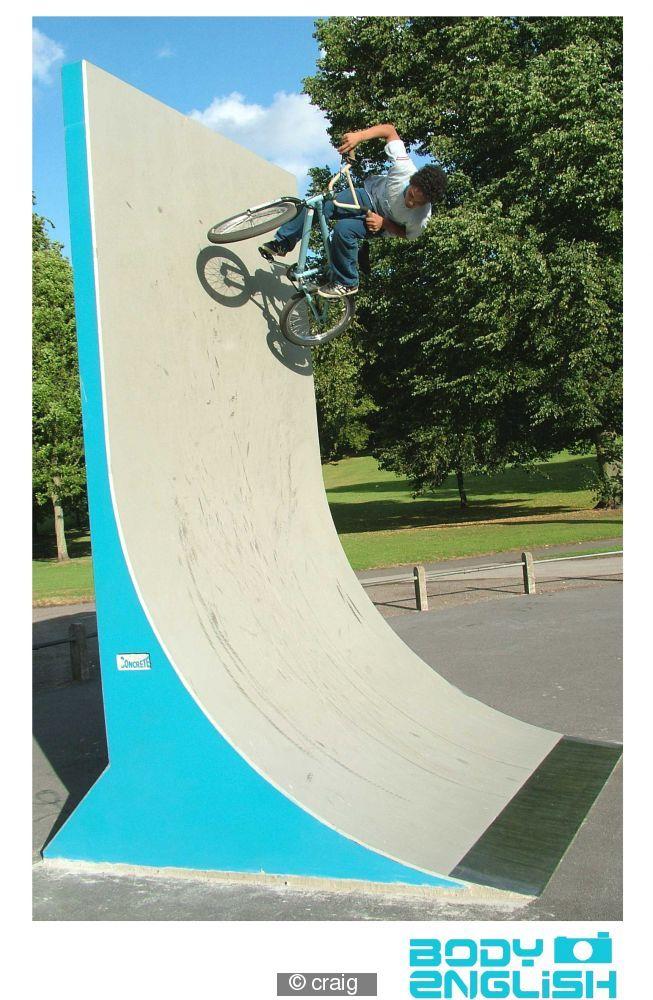 Jamie on the new vert wall at St.georges skatepark, Bristol