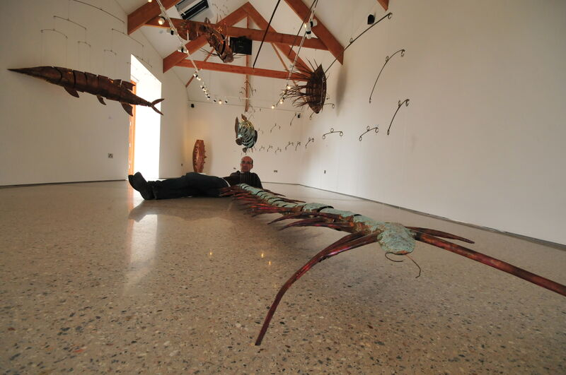 artist plus 300cm long centipede at Kestle Barton