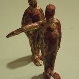 two figures, one pointing