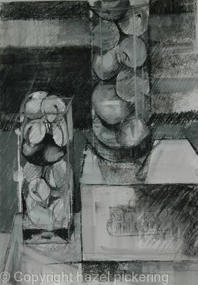 Fruit, jars and stones in the hall