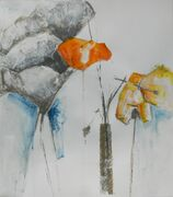 Mansard poppies, bottles and leaves