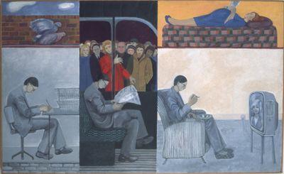 Grey man, work train home