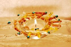 Yellow Brown Sparkle Tea Light